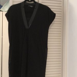 Black Vince  dress with leather trim